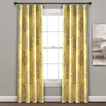 زوج ستارة نافذة معتمة من الستائر العازلة بنمط شجرة خطية باللون الأصفر والرمادي مقاس 213.36 سم × 96.52 سم