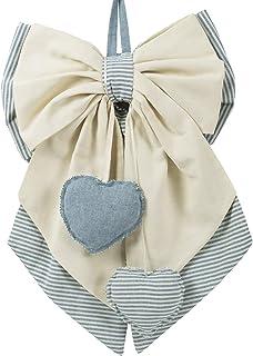 Tina Codazzo Home Baby Fiocco nascita in cotone beige in tinta unita e turchese a righe.