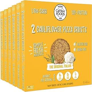 Cali'flour Foods Pizza Crust (Original Italian, 6 Boxes, 12 Crusts) - Fresh Cauliflower Base | Low Carb, High Protein, Gluten and Grain Free | Keto Friendly