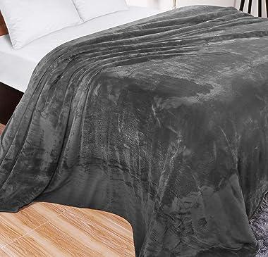 Utopia Bedding Fleece Blanket Queen Size Grey 300GSM Luxury Bed Blanket Anti-Static Fuzzy Soft Blanket Microfiber