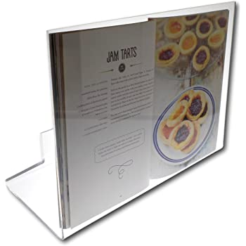 Clear Perspex Acrylic Plastic Cook Book Holder Stand - Splatter and Splash Proof Design to Protect Your Cookbooks from Damage (A4 Book Size 42cm x 31cm)