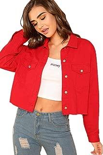 SheIn Women's Basic Long Sleeve Button Down Ripped Denim Jacket Outerwear