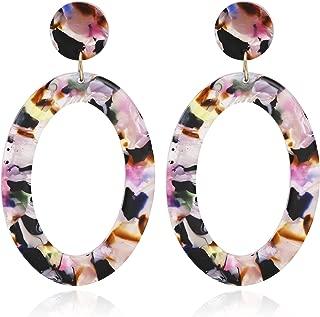 Mottled Circle Hoop Acrylic Resin Dangle Statement Earrings for Women