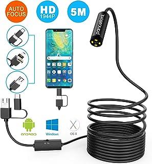 Pancellent Auto Focus Endoscope 1944P HD Cámara con boroscopio Cámara de inspección de 5.0 megapíxeles con Cable semirrígido Snake CAM para Mac Windows Android (NO iOS) (16.5FT / 5M)