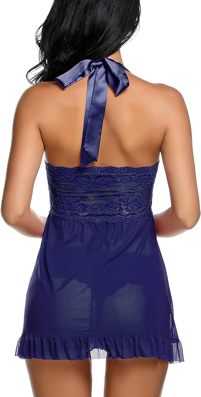 Avidlove Lingerie for Women Lace Babydoll Dress Backless Halter Chemise