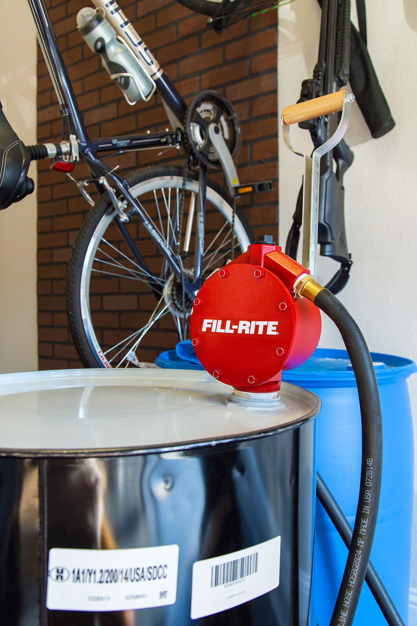 Fill-Rite FR152 Piston Hand Pump with Hose /& Nozzle Spout,Red
