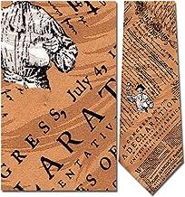 Mens 100% Silk Gold Declaration of Independance Tie Necktie