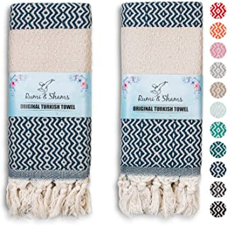 RUMI & SHAMS Turkish Hand Towel for Bathroom and Kitchen – 2 Pcs Luxurious Decorative Hand Towels for Bathroom – 100% Cott...