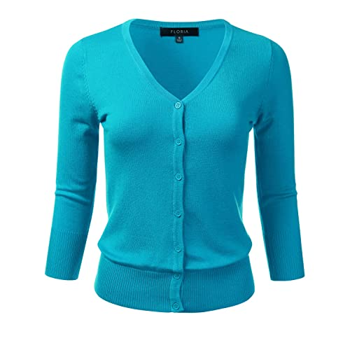 e73ae176905 FLORIA Women s Button Down 3 4 Sleeve V-Neck Stretch Knit Cardigan Sweater (