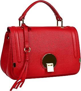 Heshe Leather Handbags for Women Shoulder Tote bag Ladies Satchel Crossbody Bags (R110-Jester Red)