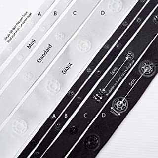 Snap Popper Tape Fasten Ribbon Big or Small Studs, High Strength in 4 Styles; New Reduced Prices! Durable Polyester with high strength Plastic Snaps,which don't rust! Light weight, soft, durable and attractive appearance, white with white and black with black.3 sizes to choose from and a new single ribbon popper tape for pleats. 3mts pack
