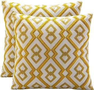 BOYSUM Set of 2 Morocco Boho Diamond Decorative Pillow Covers Cotton Washed Linen Pillow Covers Boho Geometric Throw Pillo...