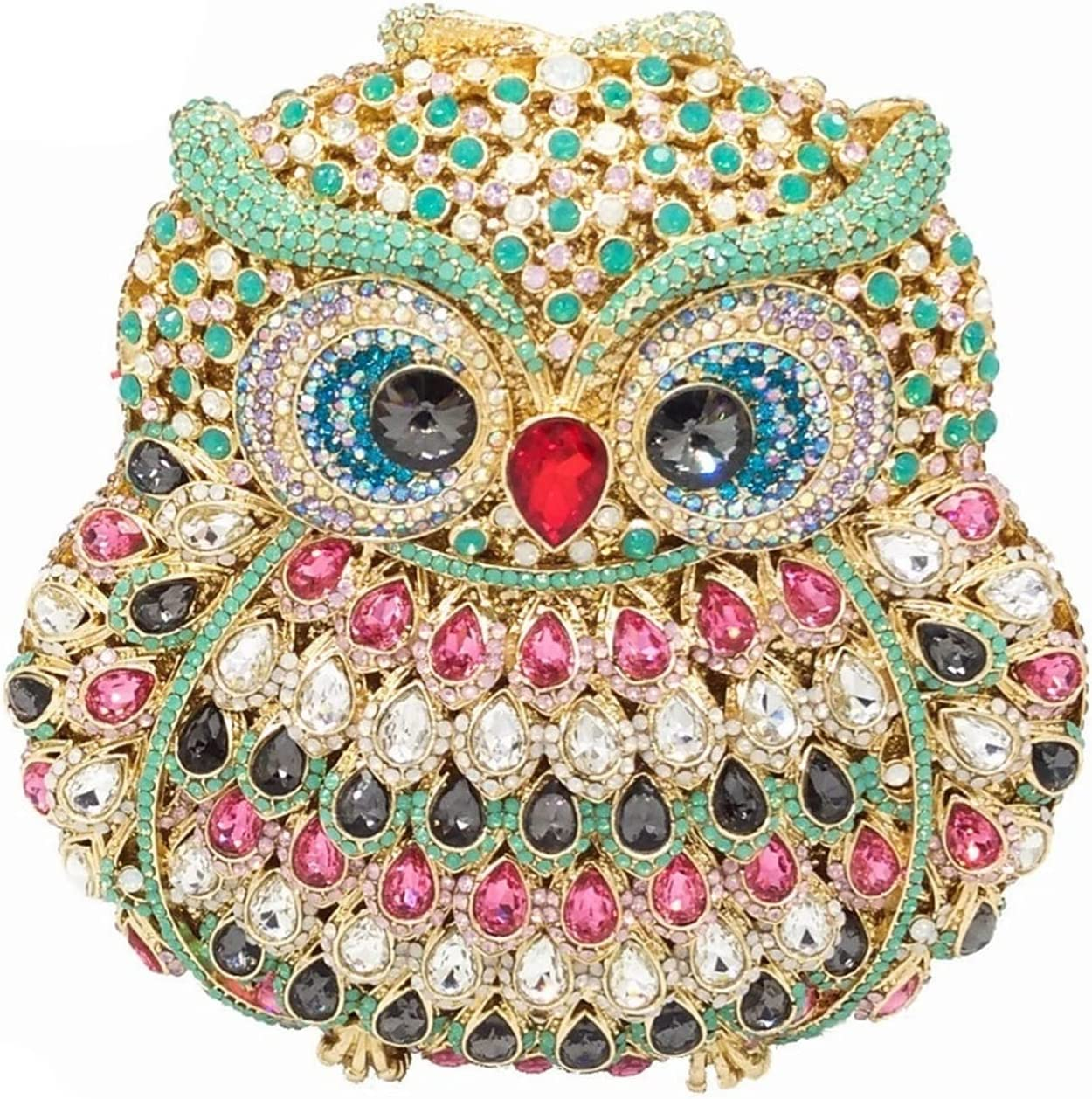 A+TTXH+L Evening Bag Owl Women Diamond Evening Clutch Bag Party Crystals Clutches Wedding Purses Ladies Hollow Out Handbags (Color : A, Size : 1)