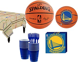 Party City NBA Golden State Warriors Party Supplies, Includes Tableware and Table Cover, 16 Guests