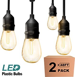 addlon 2 Pack 48ft LED Outdoor String Lights Hanging Edison Plastic Bulbs Commercial Grade Dimmable Patio Café Light, UL Listed Weatherproof Strand 15 Hanging Sockets for Market Bistro Garden Backyard
