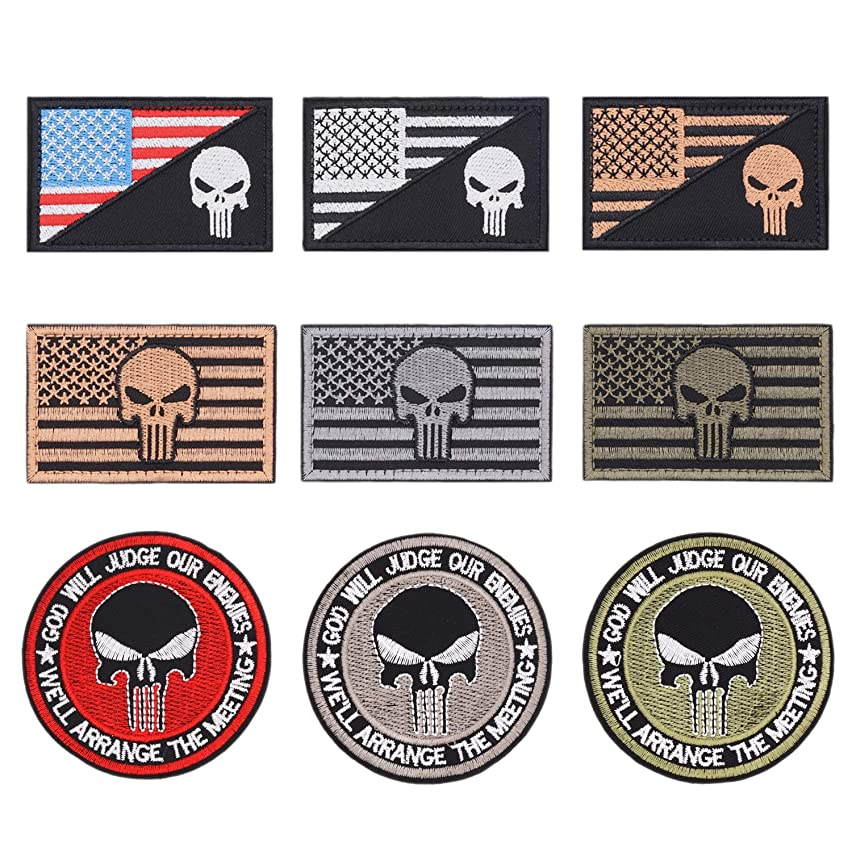 9pcs American Flag Tactical Military Morale Iron on Patches Embroidered Set for Caps, Bags, Backpacks, Tactical Vest, Military Uniforms (Tactical 9pcs)