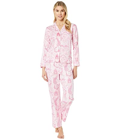 LAUREN Ralph Lauren Petite Cotton Rayon Sateen Woven Pointed Notch Collar Long Pants Pajama Set (Pink Print) Women
