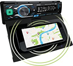 Jensen MPR419Q 7 Character LCD Single DIN Car Stereo Receiver Motorized Phone Mount with Qi Wireless Charging Push to Talk...