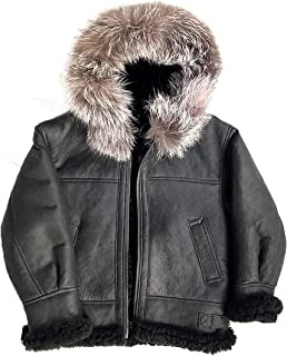 Kids B-3 Genuine Shearling Leather Bomber Jacket Winter Aviator Coat for Boys with Fur Trimming