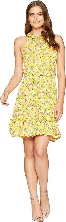 Printed Matte Jersey Ruffle Dress