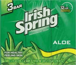 Irish Spring Deodorant Bath Bar Aloe,3.75 Ounce, 3 Count