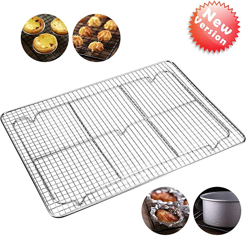 Cooling Racks For Baking Bakeable Nonstick Cooling Rack Stainless Steel Cooling Rack Oven Safe For Cooking Roasting Grilling 12 X 17 Inches Fits Half Sheet Cookie Pan