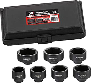 ARES 71150-7-Piece Low Profile Fuel Filter Socket Set - Low Profile Design for Easy Access - Popular Sizes for Multiple Applications - Chrome Vanadium Steel with Manganese Phosphate Coating