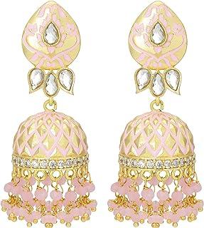 Aheli Gold Tone Wedding Party Wear Floral Enamel Jhumki Earrings with Beaded Tassel Ethnic Fashion Jewelry for Indian Women