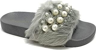 Women's Embellished Pearl Faux Fur Platform Wedge Slide Sandal