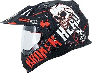Broken Head Bone Crusher Cross-Helm Rot mit Visier - Enduro-Helm - MX Motocross Helm mit Sonnenblende - Quad-Helm