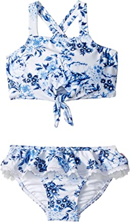 Seafolly Kids - Forget Me Not Tie Front Tankini Set (Infant/Toddler/Little Kids)