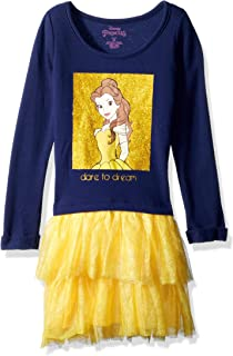 Disney Girls' Little Belle Graphic Long Sleeve Dress with Tutu Skirt