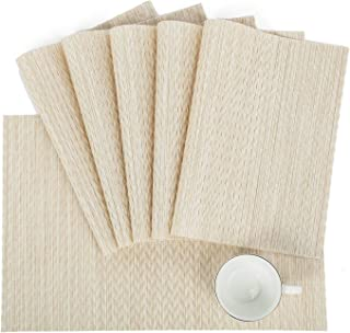 HEBE Placemats Set of 6 for Dining Table Washable Woven Vinyl Placemat Non-Slip Heat Resistant Kitchen Table Mats Wipe Clean Christmas Holiday Placemats,Gold