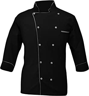 Creation PN-05 Men's Black & White Chef Jacket Multiple Piping Color Exclusive Chef Coat