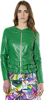D'Arienzo Giacca in Pelle Donna Verde Balze Primaverile Vera Pelle Giacca Made in Italy F105BL
