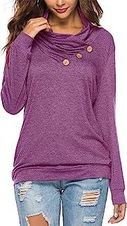 KISSMODA Women's Casual T-Shirt Long Sleeve Button Cowl...