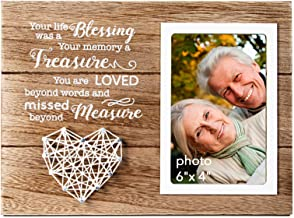 VILIGHT Sympathy Gifts for Memorial and Funeral - Rustic Comfort Picture Frame in Memory - 4x6 Inches Photo