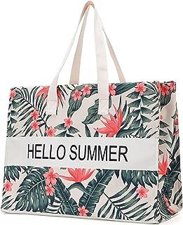 JANSBEN Strandtasche Damen XXL Shopper Schultertasche Canvas Beach Bag,Große Strandtasche 48L,Umhängetaschen,mit Reißversc...