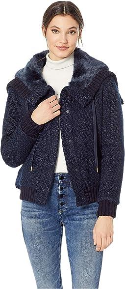 Hard Woven Boucle Jacket w/ Faux Fur Hood