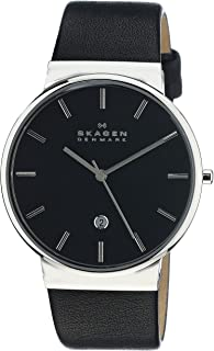 Skagen Men's Ancher Stainless Steel and Leather Quartz Watch