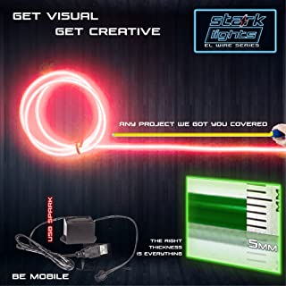 3m/9.8ft Extra Large 5.0 mm Thick - Red Neon LED Light Glow EL Wire - Powered by USB Port - Electroluminescent Wire String Light for DIY Project Costume Accessories Cosplay