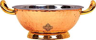 Indian Art Villa Hammered Steel Copper Kadhai with Brass Handle & Bottom, Serveware Tableware, Home Restaurant, 550 ML