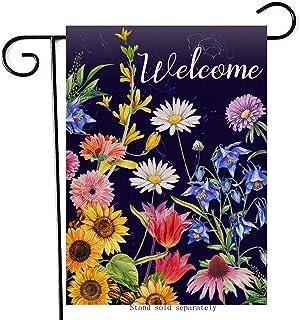 Artofy Welcome Summer Flowers Decorative Garden Flag, House Yard Sunflower Daisy Dahlia Outdoor Small Burlap Flag Decor Do...