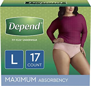 Depend FIT-FLEX Incontinence Underwear for Women, Disposable, Maximum Absorbency, Large, Blush, 17 Count