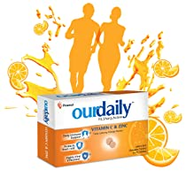 Ourdaily Vitamin C (500mg) & Zinc, chewable tablets, tasty lemony orange flavour- builds Immunity against viruses and cold – 120 tablets, Orange