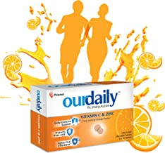 Ourdaily vitamin c(500mg) & zinc chewable tablets-builds immunity daily against viruses and cold-120 tablets-tasty lemony ...