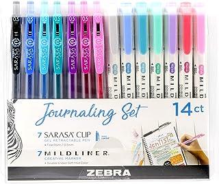 Zebra Pen Journaling Set, Includes 7 Mildliner Highlighters and 7 Sarasa Clip Retractable Gel Ink Pens, Assorted Colors, 1...