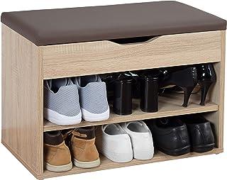 RICOO WM032-ES-B Banco Zapatero 60x42x30cm Armario Interior con Asiento Organizador Zapatos Mueble recibidor Percher...
