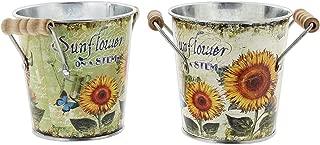Sunflower Motif Metal Bucket Planters, Set of 2