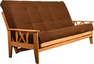 Excelsior Honey Finish Futon Set - Wood Frame and Mattress 8 Inch Innerspring - Full or Queen Size with Choice of Fabric Colors (Queen Size, Coffee)